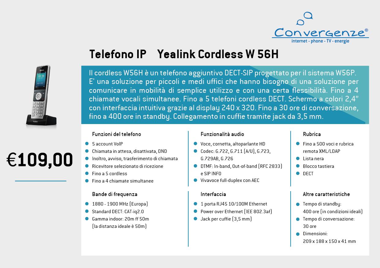 Scheda telefono tecnica VoIP Yealink Cordless W56H