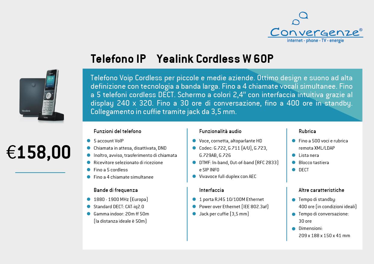 Scheda telefono tecnica VoIP Yealink Cordless W60P