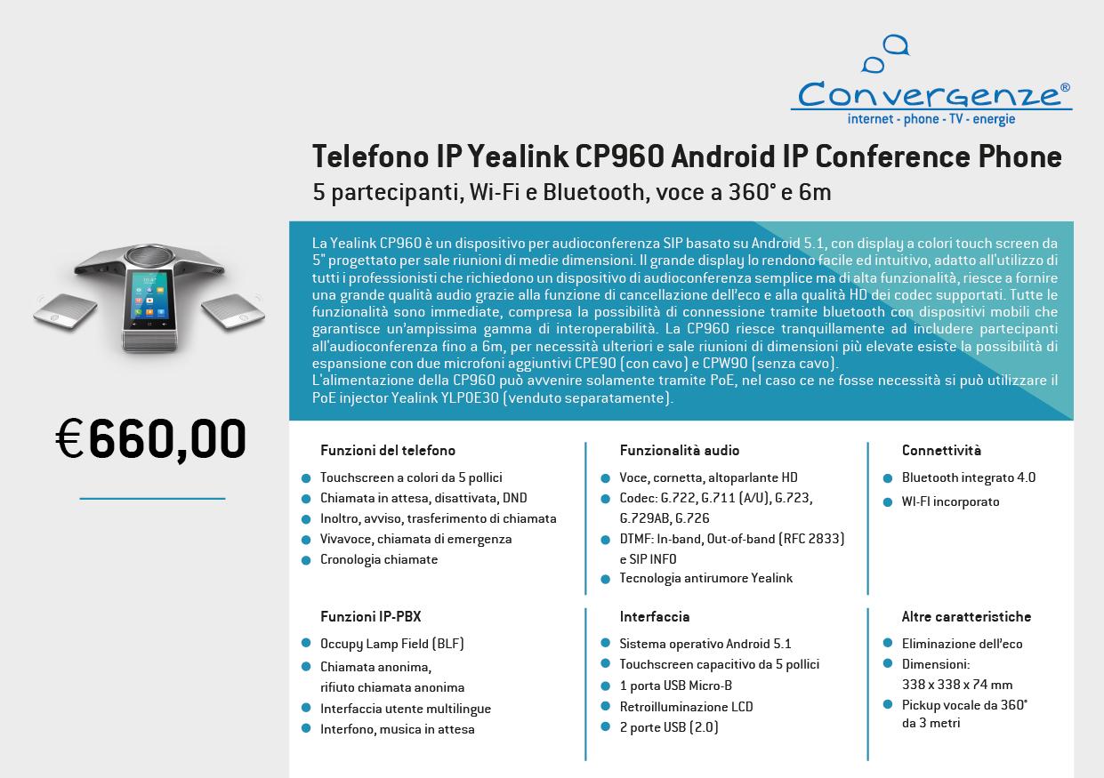 Scheda telefono tecnica VoIP Yealink CP960