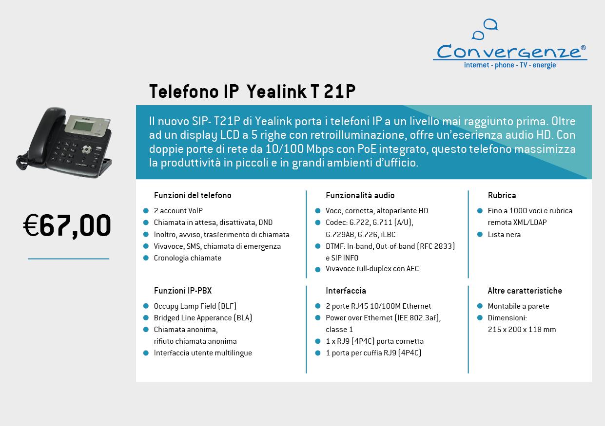 Scheda telefono tecnica VoIP Yealink T21P