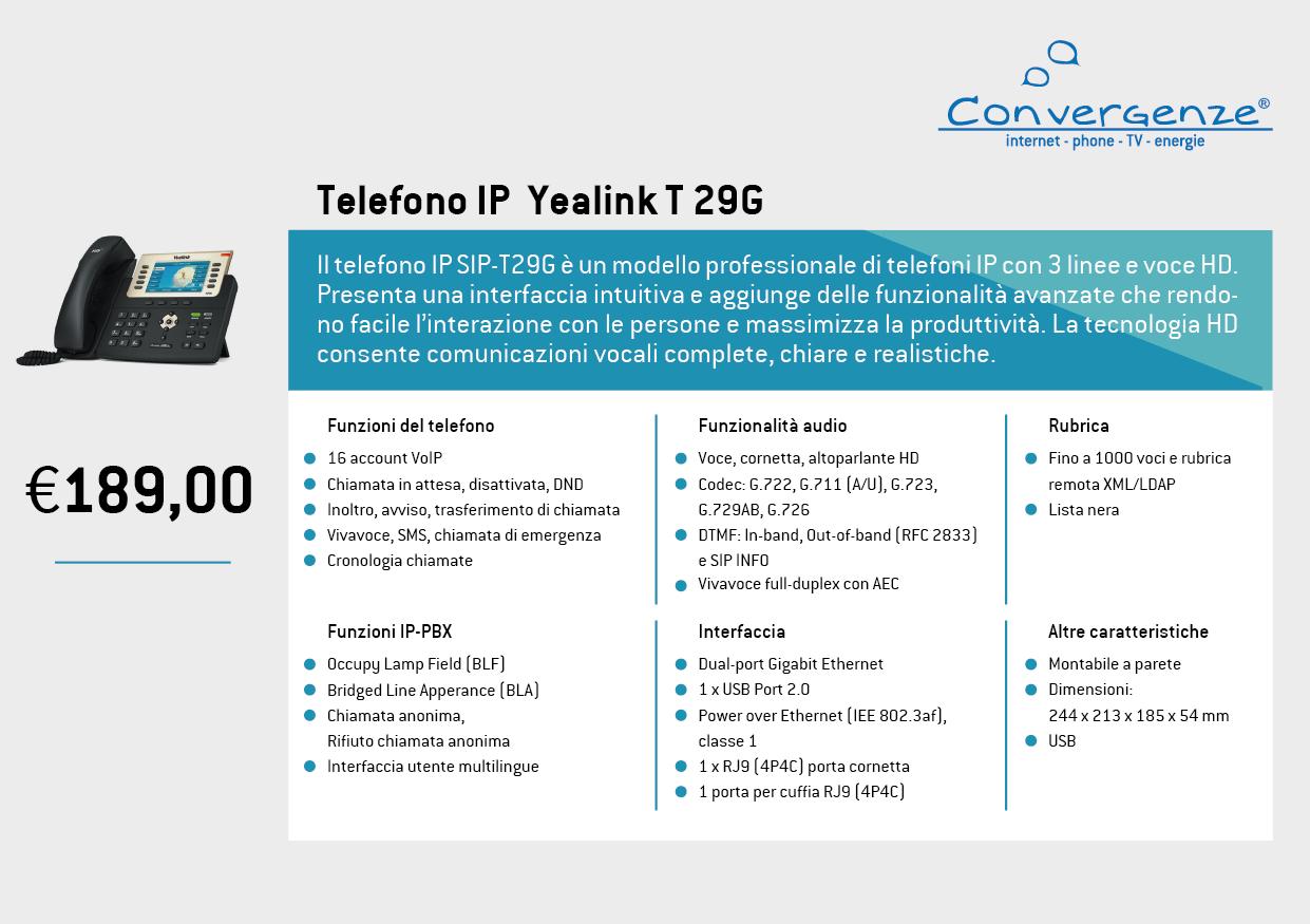 Scheda telefono tecnica VoIP Yealink T29G