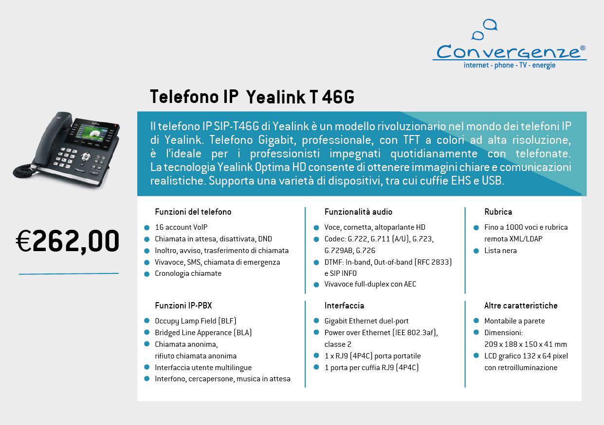 Scheda telefono tecnica VoIP Yealink T46G